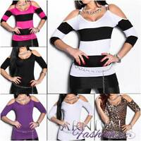 NEW SEXY 3/4 SLEEVE TOPS for women FASHION CLOTHES size 6 8 10 CASUAL SHIRTS S M