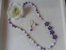 Wunderschönes Schmuckset XL-Kette + Ohrbrisuren Lila/weiß FIMO-Perlen UNIKAT