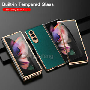 For Samsung Galaxy Z Fold 3 5G Cross Grain 360° Case Cover With Tempered Glass