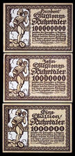 Xxx-Rare Post-Ww1 Anti-French Propaganda Currency! Gem Cu 1-10-100 Millon Marks