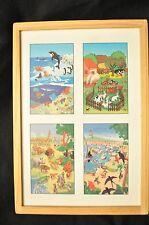 4 Wooden puzzles in box / animals/tropical/farm/ocean/jungle 12 pcs each