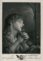 """Holy Card of St. Mary Magdalene Plus a Silver Oxidized Medal of The Saint 1"""""""
