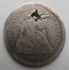 More details for usa silver half dime 1860 holed