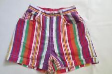80's Vtg High Waisted Rainbow Stripe Denim Jean Shorts Mom Jeans Retro 9/10