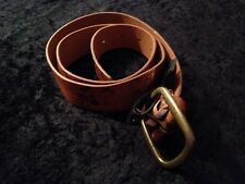 Brown Printed Belt With Printed Pattern Brass Buckle Sjze S/M 104 Cm