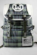 Plaid Print School Bag Travel Hiking Backpack Bookbag Green Nylon wolf horse