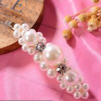 Women Pearl Hair Clip Snap Barrette Stick Hairpin Bobby Hair Accessories 1pcs