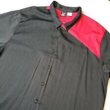 Hilton Men's Size 3XL Bowling Shirt Red Black Colorblock Short Sleeve Button Up