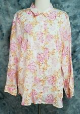 J Jill Love Linen Womens L Pink Orange Coral Turtle Sea Theme Tunic Button Top
