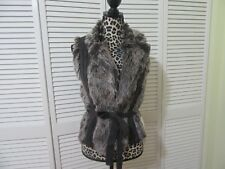 X0XO Faux fur,sweater vest, M, NWT, Faux fur front panels, gray knit front,back