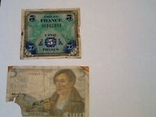 2 X 5 Franc WW11 banknotes France 1944 &1945.