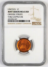 Lincoln Memorial Cent - Ngc Mint Error Ms 65 Rd - Obv Struck Thru Capped Die