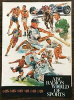 ORIGINAL 1967 ABC Radio's World of Sports PRINT AD Fantastic Illustrations!