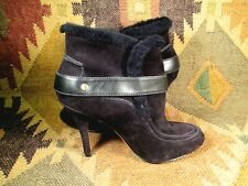 Joan & David  Black Suede & Real Fur High Heel Ankle Boots  NEW size 10 M