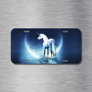 Unicorn Moon Lite Light White Horse Fantasy License Plate Front Auto Tag Plate