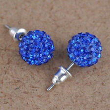 10 mm Austria Crystal Shiny Pave Disco Clay Ball Beads Ear Stud Earrings Hot