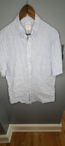 Brooks Brothers Regent 100% Linen Large Blue Stripe Short Sleeve Mens Shirt