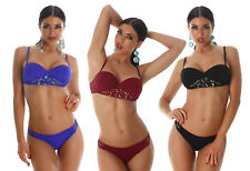 Bikini balconcino push-up ferretto ricamo intagli laser costume mare donna new #