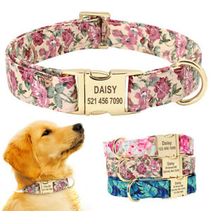 Fancy Floral Personalised Dog Collars Heavy Custom Name ID Collar Tag Engraved
