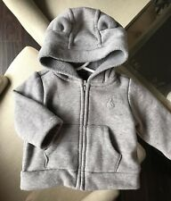BABY GAP BOY GIRL GREY BEAR EARS SWEATER FUZZY WARM ZIPPER 0-3 Months Sherpa Coz