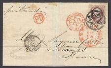 US 1873 Sc 150 with NYFM (ST-8P10) on cover to France, Perfect Strike