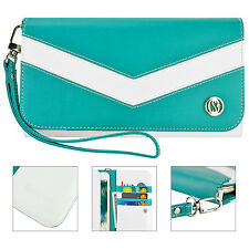 Turquoise Mint Wallet Wristlet Clutch Purse Case for Apple iPhone 6 Plus
