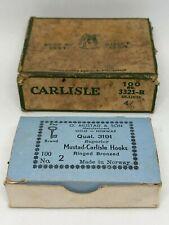 Vintage Fishing Hook Lot Pflueger Carlisle 3321-B Blued & Mustad Ringed Bronze 2