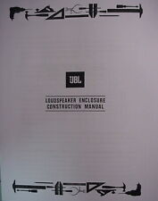 JBL VINTAGE CABINET BUILDING MANUALS #1 and #2 78 Pages