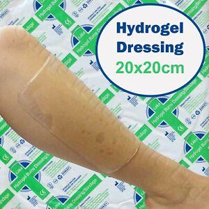XLarge 20x20cm HYDROGEL DRESSING Wounds Burns Scalds Sores Bandage Cooling Gel