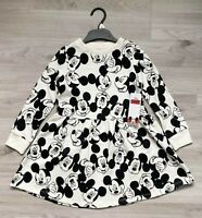Girls MICKEY MOUSE Dress Sweater Long Sleeve Jumper Jersey Skater Disney F&F NEW