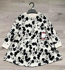 Girls MICKEY MOUSE Dress Long Sleeve Cotton Jersey Skater Outfit Disney F&F NEW