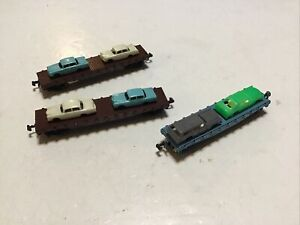 3 N Scale Flat Bed Auto Carriers 1Atlas 2unk. Lot T27