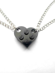 Black Lego Necklace Set, Couples His and Her's Lego heart 3176 set