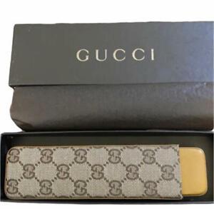 Vintage Unused Gucci GG Monogram Canvas Leather Pencil Case Set