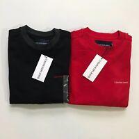 NWT Calvin Klein Jeans Men's All Cotton Crewneck Sweatshirt Black Red NEW
