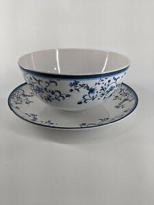 """Blue Portofino Spode Melamine Serving 14"""" Platter & 11"""" Bowl - Outside Dishes"""