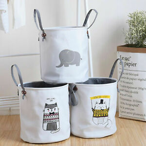 Dirty Wash Clothes Bucket Baby Kid Toy Canvas Laundry Basket Storage Bag Box