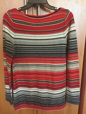 Ralph Lauren Women Sweater Top M Medium Red grey white Black Striped New NWT