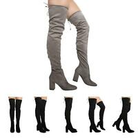 NEW WOMENS LADIES THIGH HIGH OVER THE KNEE LACE UP STRETCH BOOTS SHOES SIZE 3-8