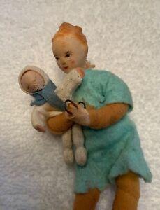VTG EARLY Mother Daughter ERNA MEYER Stockinette Dollhouse Dolls GERMANY RARE