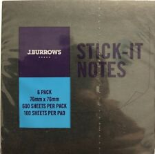 J.Burrows Stick-it Notes 76 x 76 mm 6 Pack Black - #A18