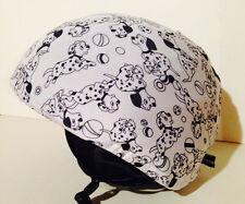 Ski & Sport Helmet cover by Shellskin. Black&White Puppies print Spandex. 1 Size