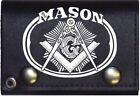 """4"""" Mason Leather Wallet with Chain Biker Wallet Freemason Masonic USA SHIPPER"""
