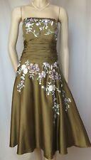 Cocktailkleid 38 grün bestickt Seide Baumwolle Hochzeit Abend Blumen Monsoon