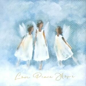 S253# 3 x Single SMALL Paper Napkins Decoupage Love Peace Hope Three Angels Blue