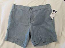"Ladies ""Chaps"" Size 12, Indigo/White Stripe, Bermuda Shorts"