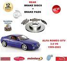 PER ALFA ROMEO GTV 1999-2003 3.0 DISCHI FRENI POSTERIORI Set + PASTIGLIE KIT