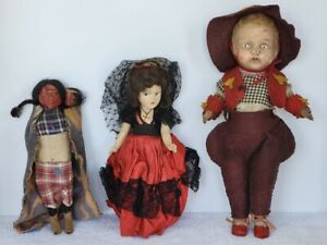 VINTAGE COMPOSITION DOLLS & SKOOKUM DOLL (LOT OF 3) AS IS CONDITION