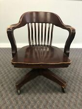 Vintage WOOD OFFICE CHAIR Swivel arm banker desk courthouse lawyer antique arm 3