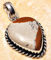 925 Silver Overlay Pendant Jewellery - Picture Jasper - 30mm Height - PEN321A